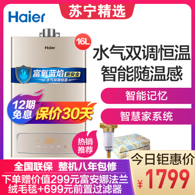 Haier/海尔热水器 燃气热水器JSQ31-16YK3(12T) 16升 水气双调 智能记忆 二级防冻 享0元安装