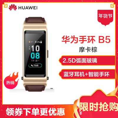 华为(HUAWEI)华为智能手环 B5 商务版 摩卡棕 (蓝牙耳机+智能手环+心率监测+彩屏+触控+压力监测+Android+IOS通用+运动手环)