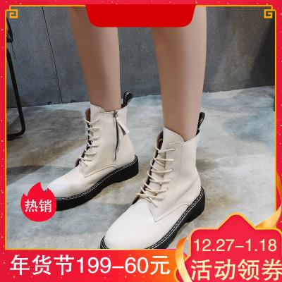跨洋(KUAYANG)短靴女2019冬季女靴中筒靴马丁靴机车靴皮靴潮流百搭靴子女鞋