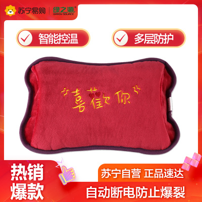 綠之源 暖手寶熱水袋電暖袋暖寶寶充電防爆迷你痛經電熱寶暖貼(紅色 喜歡你)