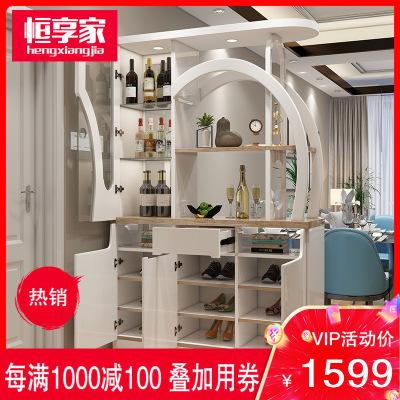 恒享家 玄關柜 隔斷柜酒柜簡約現代木質門廳間廳柜鞋柜屏風裝飾柜儲物柜