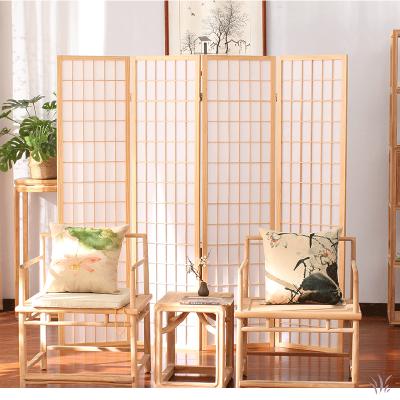 日式屏風隔斷玄關折疊移動客廳簡約1/4扇現代實木屏風茶室樟子格背景墻藤印象