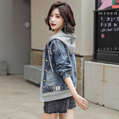 芷臻zhizhen2020春秋新款短款小清新連帽牛仔外套女裝寬松學生bf潮流