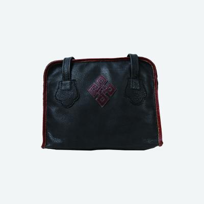 真皮男包商务手提包公文包手提包(黑色方形)