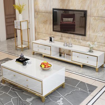 白色北歐茶幾電視柜組合不銹鋼港式實木輕奢后現代簡約可伸縮地柜 升級版1.3*0.70米茶幾 白色 組裝