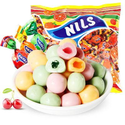 【第二份半价】俄罗斯进口kdv尼丽斯橙子味夹心糖500g袋装夹心喜糖网红休闲零食品糖果