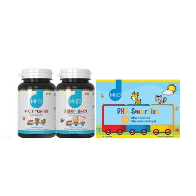 【儿童营养三宝】新西兰MHD 儿童维C片 120片/瓶+牛初乳羊奶高钙片 120粒/瓶+儿童鱼油DHA 30粒/盒