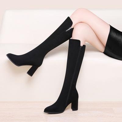 古奇天伦 长筒靴女不过膝长靴冬季2019新款粗跟高跟加绒高筒瘦瘦靴马丁靴中跟女靴 513