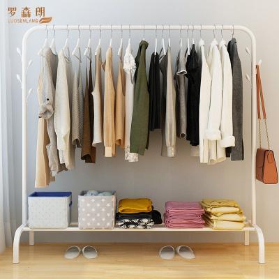 羅森朗 衣帽架晾衣桿落地簡易家用單桿式涼衣架臥室內曬衣架折疊陽臺掛衣服架子