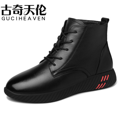 Guciheaven/古奇天伦短靴女黑色皮靴新款冬季上班软底女士靴子高帮皮鞋方跟加绒马丁靴