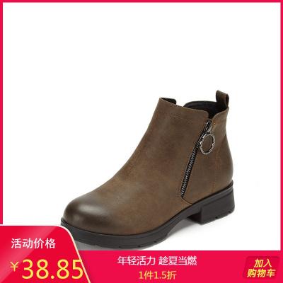 SHOEBOX/鞋柜品牌女靴新款鉆扣拉鏈圓頭粗中跟低筒短靴踝靴1118505751