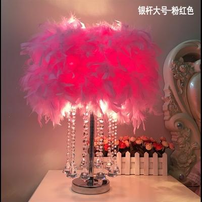 CIAA創意水晶羽毛臺燈遙控調光臺燈臥室床頭燈生日婚慶裝飾簡約小臺燈 大號水晶鉆(白色桿)桃紅色-LED 按鈕開關