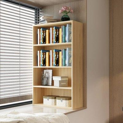 迷你小型書架簡約閃電客三層落地書柜飄窗儲物柜自由組合書架陽臺置物架 三層加寬藍色60*24*80