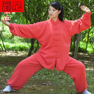 太极服女春秋太极拳练功服男麻纱武术表演晨练服宏情长短袖