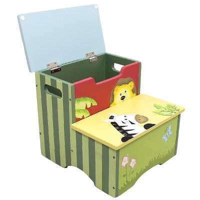 美国纷朵奇幼儿园木质丛林系列创意卡通动物收纳凳储物柜