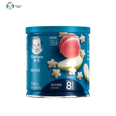 嘉寶Gerber寶寶零食嬰兒輔食梨桃子泡芙49g(8個月以上適用)星星米餅磨牙餅干