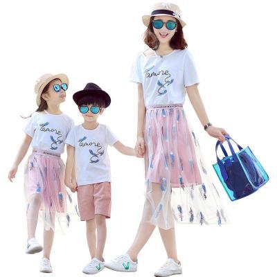 2019新款網紅親子裝夏裝母女裝家庭一家三口裝姐弟女童短裙套裝臻依緣