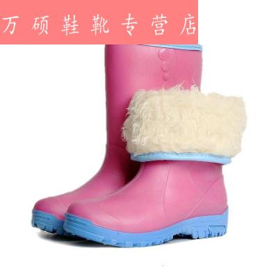 时尚冬季加厚加绒雨鞋女 加棉保暖雨靴 甜美防水套鞋防滑胶靴水鞋