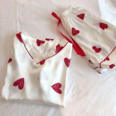 【空調房睡衣】夏季睡衣女士冰絲套裝V領短袖短褲休閑少女家居服莎丞