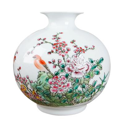 每日精進 景德鎮藝術瓷仿古粉彩鳥語花香石榴瓶 家居客廳書房玄關陳設裝飾花瓶擺件工藝品