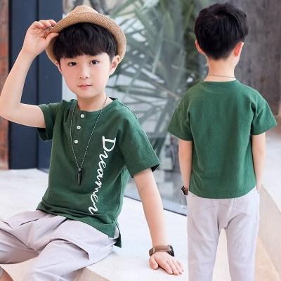 男童T恤短袖新款上衣体恤儿童夏装男中大童小衫潮半袖洋气