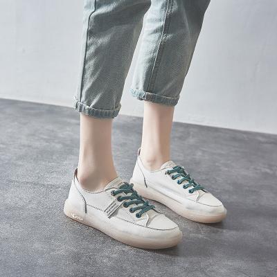 思可圖(SIKETU) 2020秋季真皮女士休閑鞋 女舒適軟面百搭牛筋軟底孕婦鞋平底板鞋小白鞋