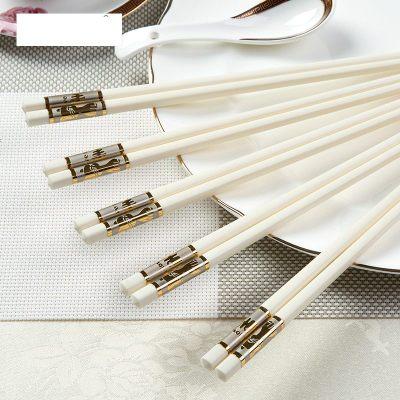 酒店欧式高档筷子 骨瓷 家用仿陶瓷筷子10双象牙筷子白色合金快子