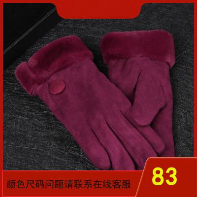秋冬季老年人女士绒质手套加绒老太太手套加厚保暖老人手套女冬天