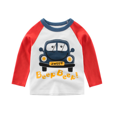 2020韓版童裝春款新品時尚 男童長袖T恤小汽車寶寶上衣元氣小猴STRONG MONKEY