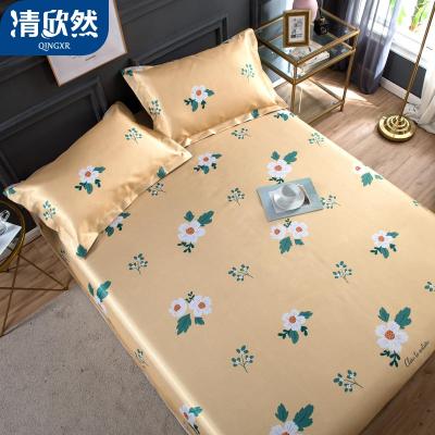 清欣然(QinGXR)家紡 冰柔絲軟涼席可水洗折疊床單式夏季涼席子1.8m床空調席三件套