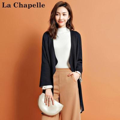 拉夏貝爾Candie's秋季女裝新款長袖羊毛開衫女中長款顯瘦30074163