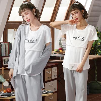 蕭淑妃 月子服春夏款純棉長袖開衫睡衣產后哺乳衣喂奶孕婦裝三件套家居服可外穿