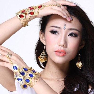 飞魅 肚皮舞九宝石戒指手链 印度舞表演饰品手链 手镯链 (单个)