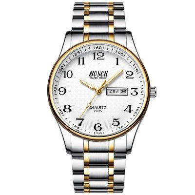 双日历男士老人手表防水大表盘数字中老年人表学生电子石英表钢带同款