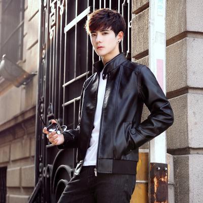 古仕卡特GUSSKATER秋新款皮夾克韓版PU皮衣男裝青少年修身機車皮外套潮薄-P60