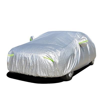 (鋁膜加厚)ZHUAX汽車遮陽罩車衣車罩防曬罩防雨通用四季隔熱車套外罩防冰雹遮陽擋全罩防塵罩外套車蓋罩防盜銀色