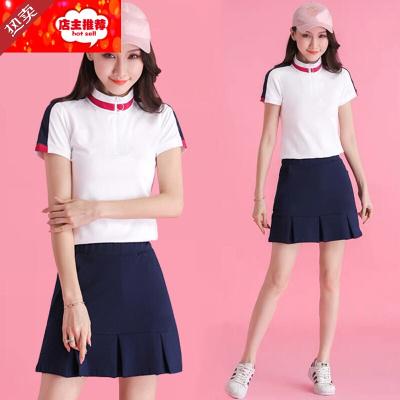 因樂思(YINLESI)高爾夫服裝 女套裝高爾夫衣服女裝球服女套裝夏短袖T恤百褶短裙褲兩件套J054