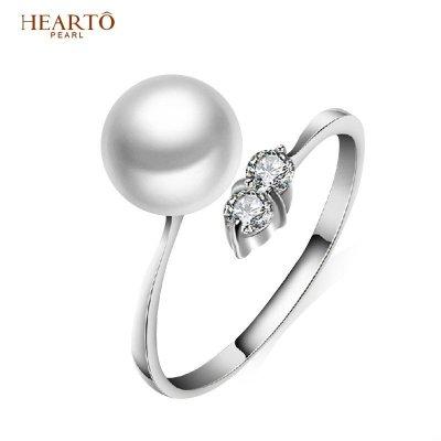 海瞳 925銀淡水珍珠戒指 珍珠可調節戒指 送愛人 戒指珍珠