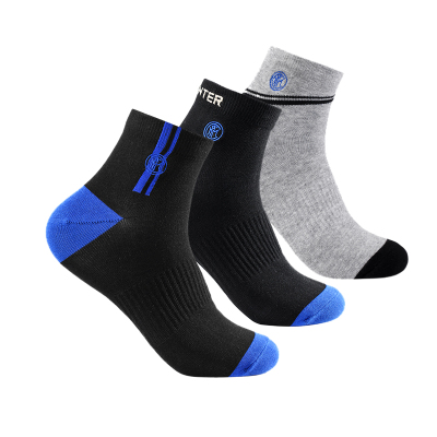 國際米蘭俱樂部Inter Milan薄款男女防臭吸汗抗菌透氣舒適運動休閑短襪 三雙裝襪子