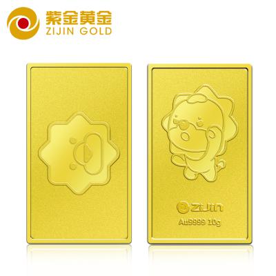 紫金黃金(ZiJin)蘇格拉寧聯名投資金條支持回購10g足金Au9999蘇寧金條薄片金磚投資收藏系列