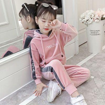 女童秋裝套裝新款韓版洋氣仿金絲絨冬款加絨加厚中大童兩件套潮 臻澀