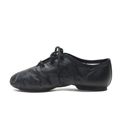 法爵士鞋 皮制儿童软底现代舞鞋系带瑜伽鞋舞蹈鞋