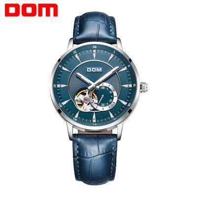 多姆(DOM)正品手表男自動鏤空機械表商務休閑防水夜光男士手表時尚大表盤鑲鉆皮帶腕表