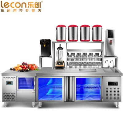 乐创(lecon)1.5米双温工作台 奶茶工作台店 咖啡设备 对开卧式冷柜烘焙设备 不锈钢水吧台 奶茶点水吧台必备