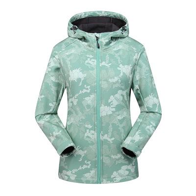 杜戛地(DZRZVD)2020新款秋季新品彈力迷彩情侶軟殼衣男時尚風衣保暖防風防水耐寒外套女裝戶外男裝