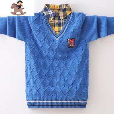 男童毛衣衬衫领秋冬款假两件套头纯棉加绒中大童保暖衣儿童针织衫  YueBin