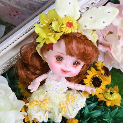 德必勝迷你芭比娃娃套裝嘟嘟系列巴比公主小娃娃男孩女孩玩具仿真洋芭比娃娃換裝關節可動 向日葵14CM迷你娃DD190304