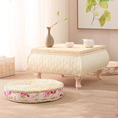 日式简约创意客厅飘窗藤编踏踏米茶几茶桌茶台多功能茶道小桌子