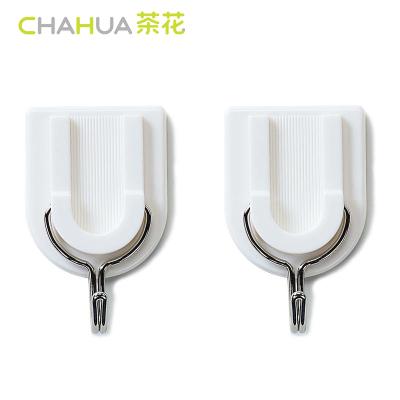茶花(CHAHUA)塑料掛鉤正品2909可愛創意強力粘膠承重粘鉤(一組2個)強力牢固不易脫落門后廚房掛鉤