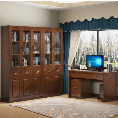 航竹坊 实木橡木书柜原木带玻璃2/3自由组合书橱现代中式组装家具